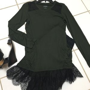 LOGO Lori Goldstein forest green & black lace top